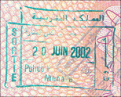 Moroccan exit stamp
