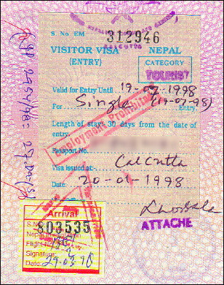 Nepalese one-month tourist visa