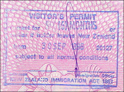 New Zealand six-month visitor's permit