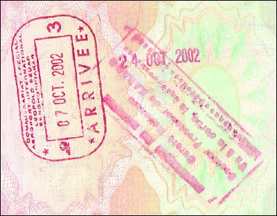 Senegalese entry and exit stamps