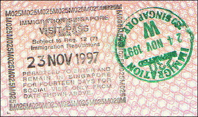 Singaporean entry and exit stamps