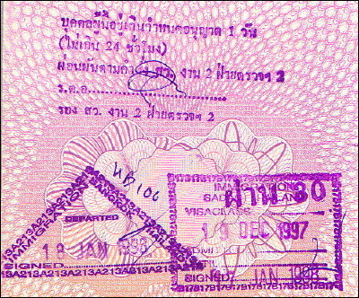 Thai entry and exit stamps