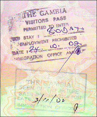 Gambian entry and exit stamps