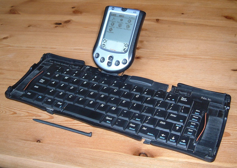 A Palm m125 and a fold-out keyboard